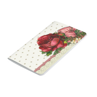 Red & cream rose bouquet with lace journal