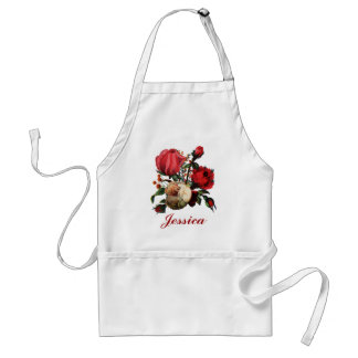 Red & Cream  Rose Customizable Name Adult Apron