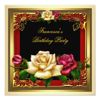 Red Cream Roses Gold Elegant Womans Birthday 2 Card