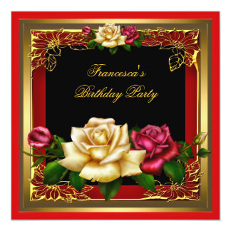 Red Cream Roses Gold Elegant Womans Birthday Party Card