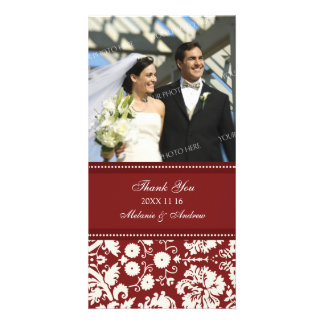 Red Cream Thank You Wedding Photo Cards