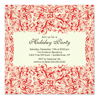 "Red & Cream Vintage Holiday Party Invitation 5.25"" Square Invitation Card"