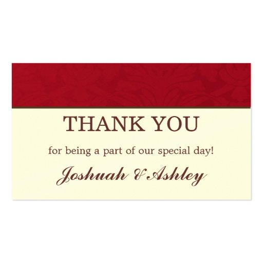 Red & Cream Wedding Table Thank You Cards Business Card