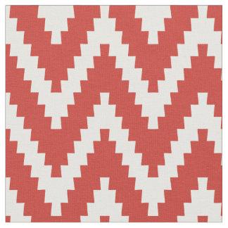 Red & Cream Ziggurat Chevron Pattern Fabric