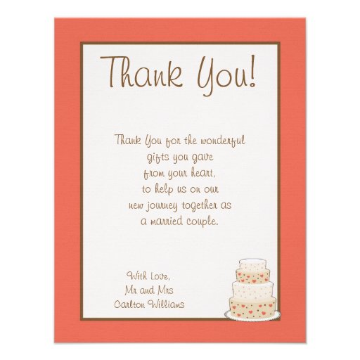 Wedding Gift Thank You Poems For Guests : Red/Creme Wedding Cake Flat Thank You Card 4.25