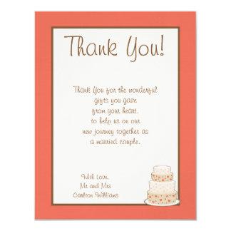 Red/Creme Wedding Cake Flat Thank You Card