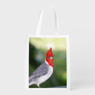Red Crested Cardinal Grocery Bags