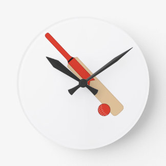 Red Cricket Bat and Ball Wall Clock