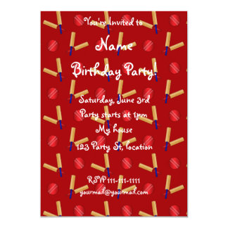 Red cricket pattern 5x7 paper invitation card