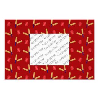 Red cricket pattern photo art