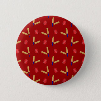 Red cricket pattern pinback button