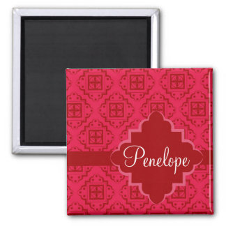 Red Crimson Arabesque Moroccan Graphic Design 2 Inch Square Magnet