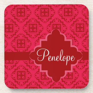 Red Crimson Arabesque Moroccan Graphic Design Drink Coaster