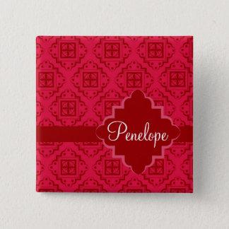 Red Crimson Arabesque Moroccan Graphic Design Pinback Button