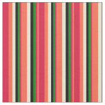[ Thumbnail: Red, Crimson, Green, Black & Beige Pattern Fabric ]