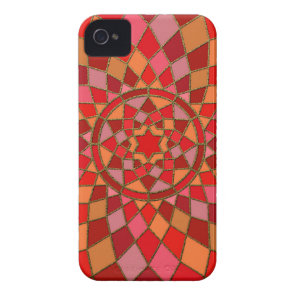 red crimson pink Red Pinata Mandala iPhone 4 Case-Mate Case