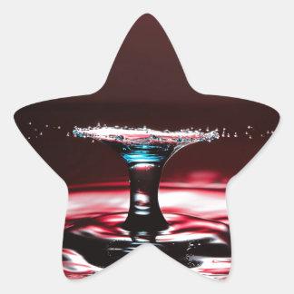 Red Crimson Water Droplet Splash Star Sticker