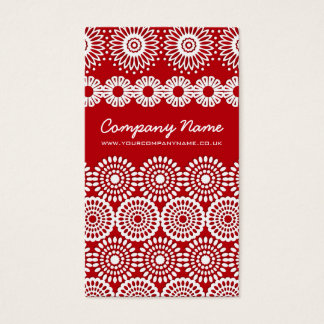 Red Crochet Lace Flowers Business Card