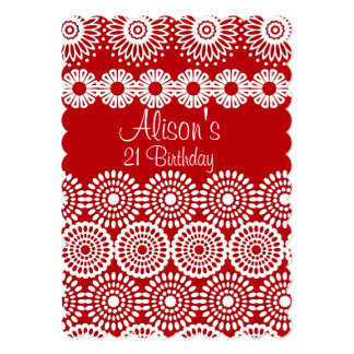 Red crochet lace girly flowers Birthday Invitation
