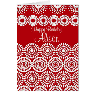 Red crochet lace girly vintage flowers  Birthday Card