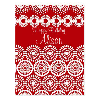 Red crochet lace girly vintage flowers  Birthday Postcard