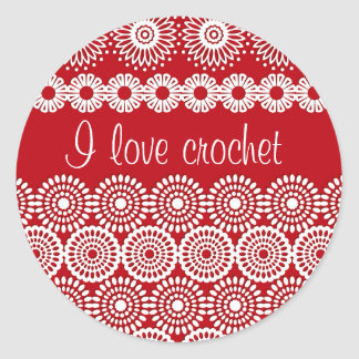 Red crochet lace girly vintage flowers classic round sticker