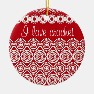 Red crochet lace girly vintage flowers Double-Sided ceramic round christmas ornament
