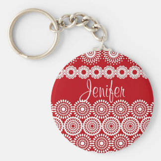 Red crochet lace girly vintage flowers keychain