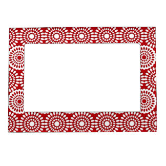 Red crochet lace girly vintage flowers magnetic picture frame