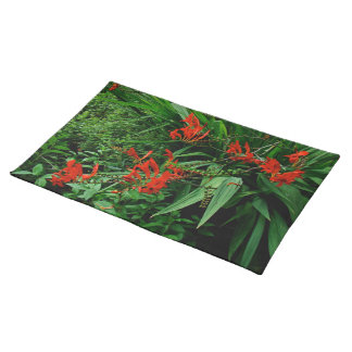 Red Crocosmia Floral Design Cloth Placemat