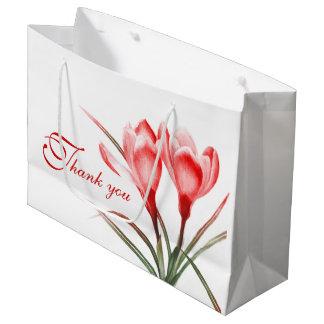 Red crocus watercolor art thank you gift bag large gift bag