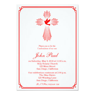 Red Cross and Dove Confirmation Invitation