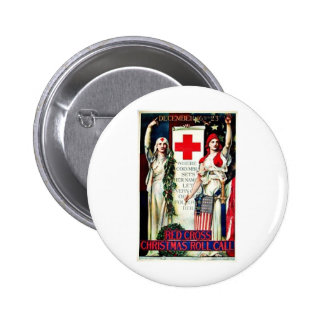 Red Cross Christmas Pinback Button
