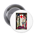 Red Cross Christmas Pinback Buttons