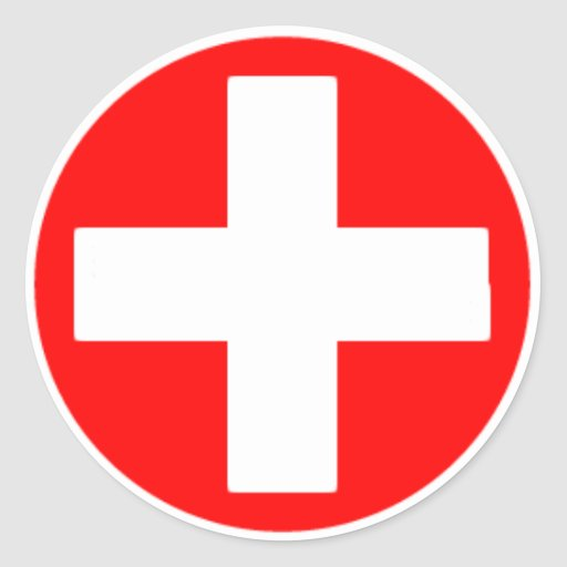 red cross Classic Round Sticker