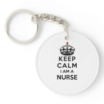 red cross crown Keep Calm I am a Nurse Keychain
