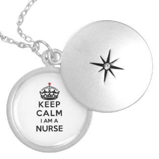 red cross crown Keep Calm I am a Nurse Round Locket Necklace