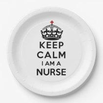 red cross crown Keep Calm I am a Nurse Paper Plate