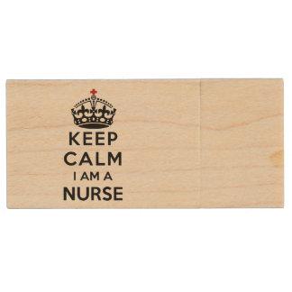 red cross crown Keep Calm I am a Nurse Wood USB Flash Drive