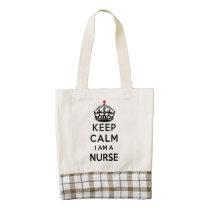 red cross crown Keep Calm I am a Nurse Zazzle HEART Tote Bag