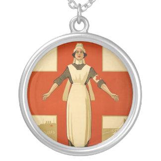 Red Cross Field Nurse Round Pendant Necklace