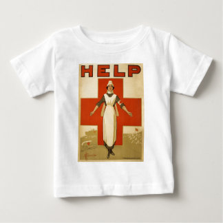 Red Cross Field Nurse Poster Reading HELP Baby T-Shirt