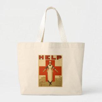 Red Cross Field Nurse Poster Reading HELP Tote Bag