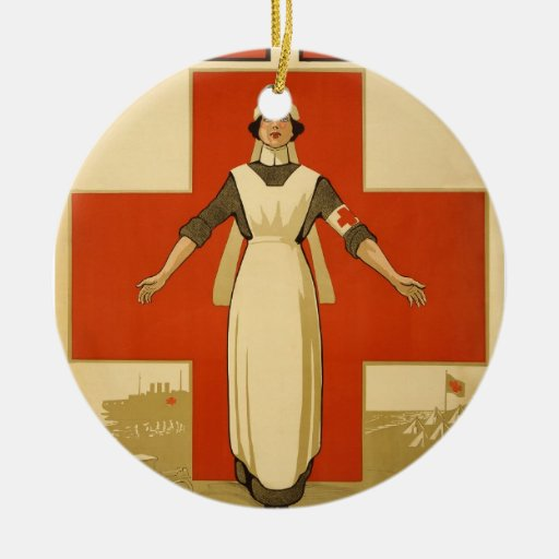 Red Cross Field Nurse Poster Reading HELP Ceramic Ornament