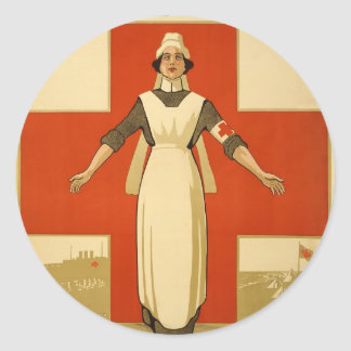 Red Cross Field Nurse Poster Reading HELP Classic Round Sticker