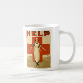 Red Cross Field Nurse Poster Reading HELP Coffee Mug