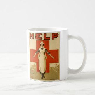 Red Cross Field Nurse Poster Reading HELP Coffee Mug