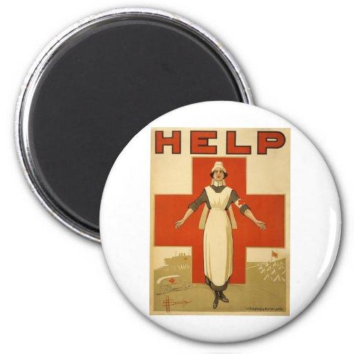 Red Cross Field Nurse Poster Reading HELP Fridge Magnet