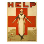 Red Cross Field Nurse Poster Reading HELP Postcards