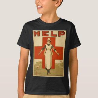 Red Cross Field Nurse Poster Reading HELP T-Shirt